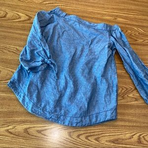 Free people chambray denim off shoulder blouse